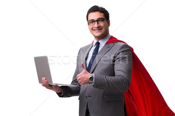 スーパーヒーロー ビジネスマン 孤立した 白 コンピュータ インターネット ストックフォト © Elnur