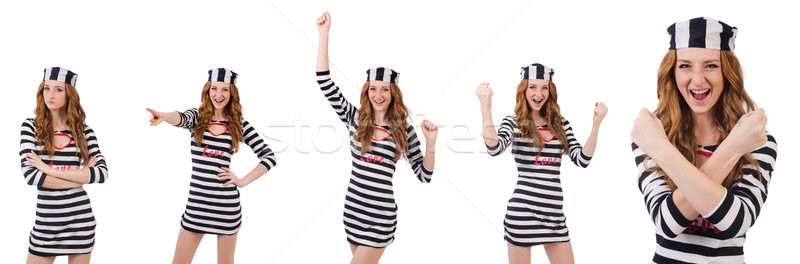 The pretty girl in prisoner uniform isolated on white Stock photo © Elnur