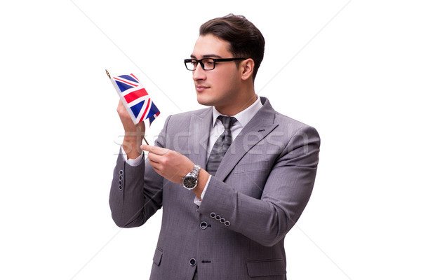 Young businessman with flag isolated on white Stock photo © Elnur