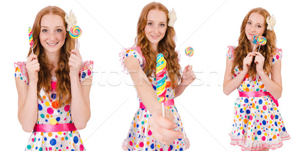 The pretty girl with lollypops isolated on white Stock photo © Elnur