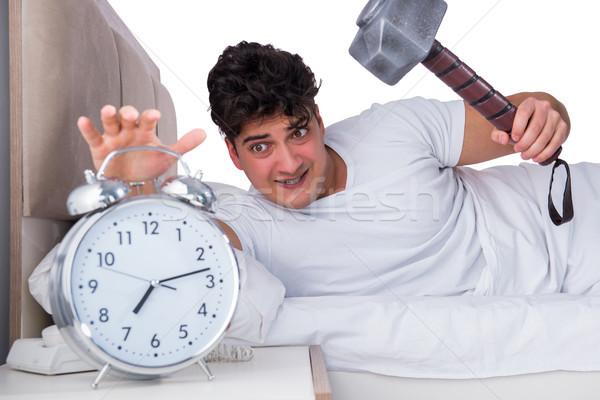 ストックフォト: 男 · ベッド · 不眠症 · 健康 · 時間