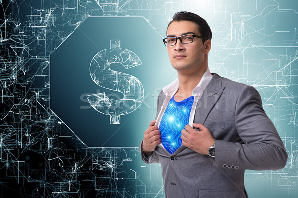Superhero американский доллара валюта бизнеса Сток-фото © Elnur