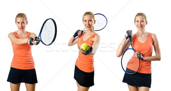 Young woman playing tennis isolated on white Stock photo © Elnur