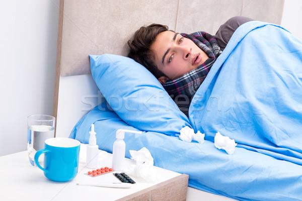 больным человека грипп кровать стороны здоровья Сток-фото © Elnur