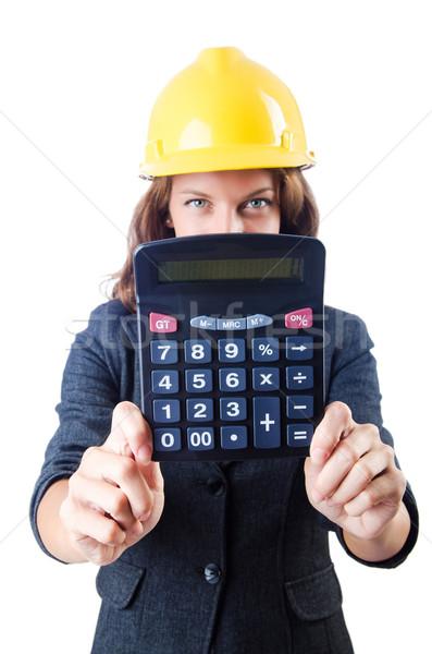 Stock fotó: Női · építész · számológép · fehér · nő · építkezés