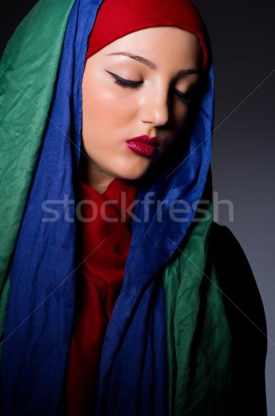 Muszlim nő fejkendő divat boldog háttér Stock fotó © Elnur