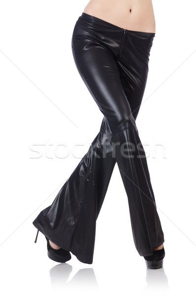 Siyah deri pantolon model arka plan kadın Stok fotoğraf © Elnur