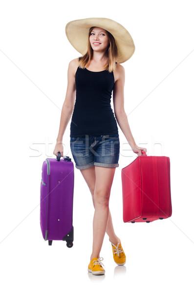 Fiatal lány utazás izolált fehér boldog háttér Stock fotó © Elnur