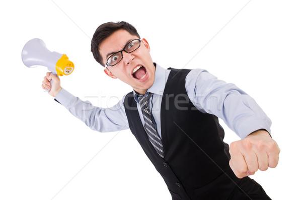 Funny man with loudspeaker on white Stock photo © Elnur