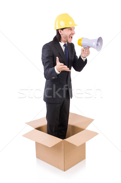 Férfi munkavédelmi sisak hangfal áll doboz üzlet Stock fotó © Elnur
