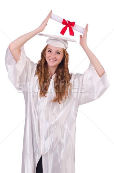 Mezun kız diploma yalıtılmış beyaz eğitim Stok fotoğraf © Elnur