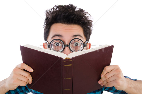 Funny student with books on white Stock photo © Elnur