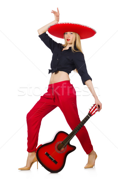 Mexican woman guitarist isolated on white Stock photo © Elnur