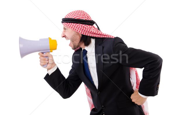 Arab Geschrei Lautsprecher isoliert weiß Business Stock foto © Elnur