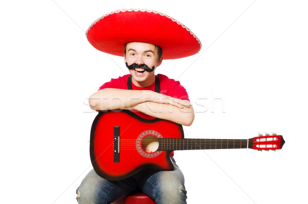 Mexican guitar player isolated on the white Stock photo © Elnur