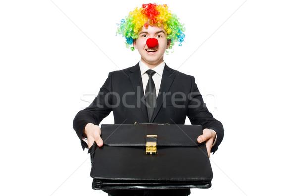 Stockfoto: Clown · zakenman · geïsoleerd · witte · business · partij