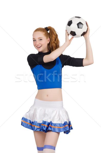 Pompomlány izolált fehér mosoly diák futball Stock fotó © Elnur