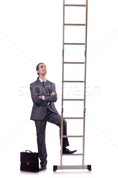 бизнесмен скалолазания лестнице изолированный белый деньги Сток-фото © Elnur