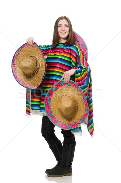 Mooie Mexicaanse meisje levendig geïsoleerd witte Stockfoto © Elnur
