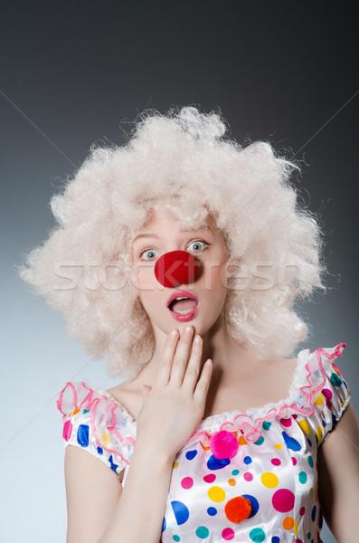 Clown biały peruka szary uśmiech urodziny Zdjęcia stock © Elnur