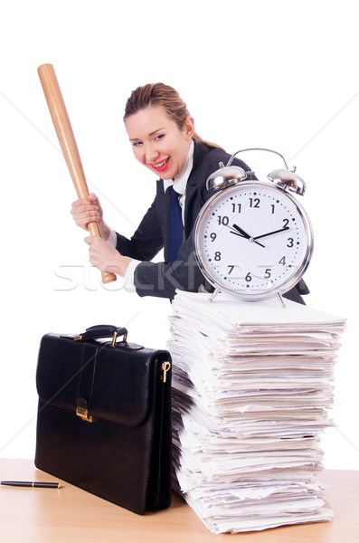 Angry woman with baseball bat under stress missing deadline Stock photo © Elnur