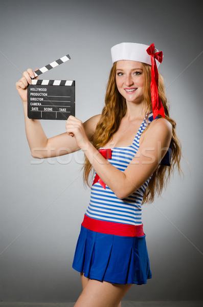 Genç kadın denizci film tahta mutlu sanat Stok fotoğraf © Elnur