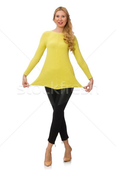 Güzel genç kadın sarı bluz yalıtılmış beyaz Stok fotoğraf © Elnur