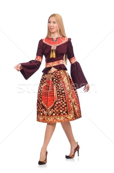 Frau Kleid orientalisch isoliert weiß Modell Stock foto © Elnur
