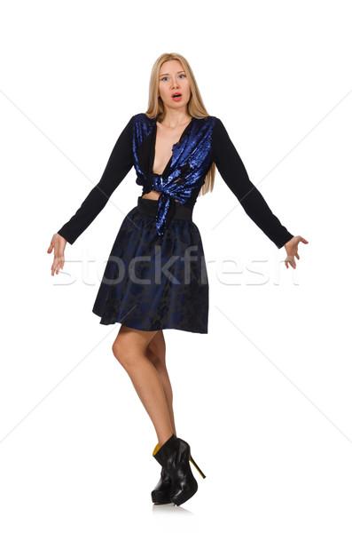 Blond cheveux fille sombre bleu jupe Photo stock © Elnur