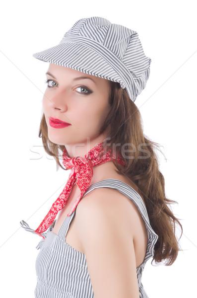 Jeune femme gris rayé robe isolé blanche Photo stock © Elnur