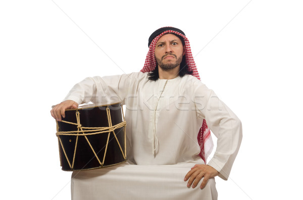 Arab man playing drum isolated on white Stock photo © Elnur