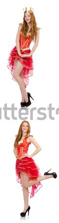 Red hair girl in carnival costume isolated on white Stock photo © Elnur