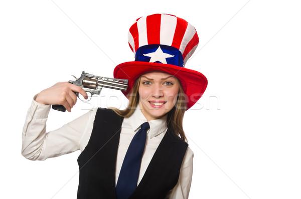 Сток-фото: женщину · Hat · американский · работу