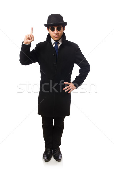 Man wearing black coat isolated on white Stock photo © Elnur