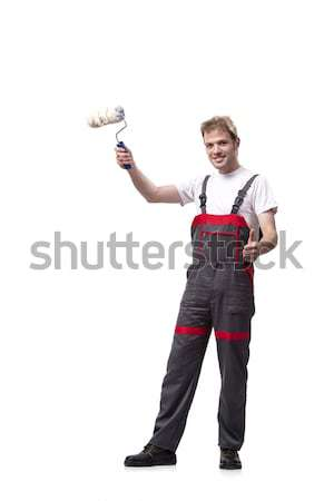 Painter with roller brush isolated on white Stock photo © Elnur