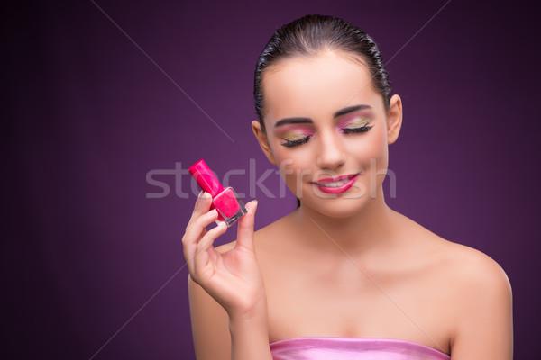 Nő rúzs cső szépség kezek kéz Stock fotó © Elnur