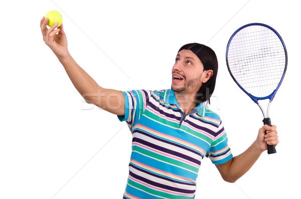 Férfi játszik tenisz izolált fehér férfi fehér Stock fotó © Elnur