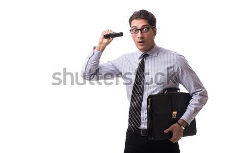 Foto stock: Jovem · empresário · pistola · isolado · branco · negócio