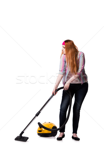 Funny housewife with vacuum cleaner isolated on white Stock photo © Elnur