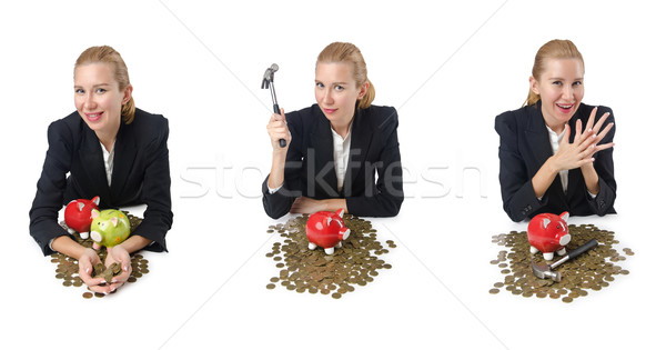 The woman breaking piggy bank for savings Stock photo © Elnur