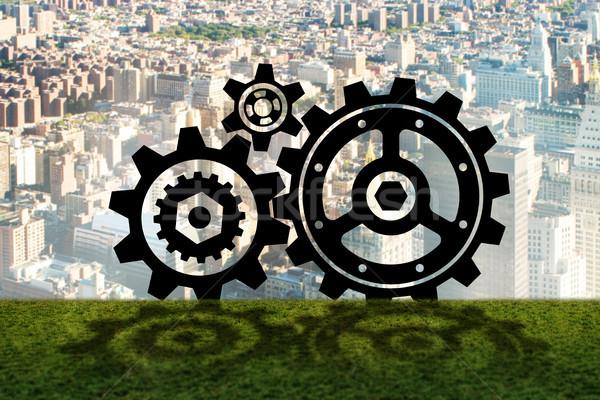 The teamwork concept with cogwheels gears 3d rendering Stock photo © Elnur