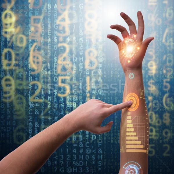 Human robotic hand in futuristic concept Stock photo © Elnur