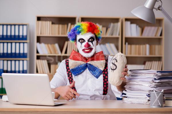 Clown businessman working in the office Stock photo © Elnur