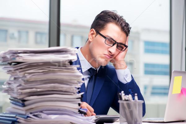 Munkamániás üzletember túlhajszolt munka iroda üzlet Stock fotó © Elnur