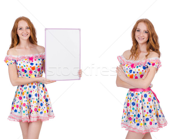 Jonge vrouw poster geïsoleerd witte ruimte kleding Stockfoto © Elnur