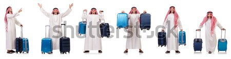 Frau Reisenden Koffer isoliert weiß Strand Stock foto © Elnur