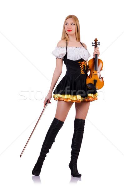 Stock fotó: Lány · játszik · hegedű · fehér · fa · koncert