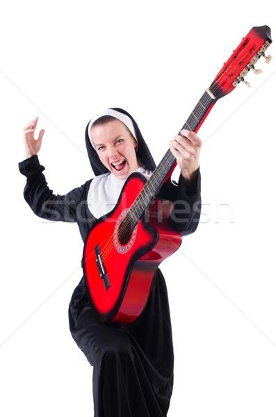 Suora giocare chitarra isolato bianco musica Foto d'archivio © Elnur