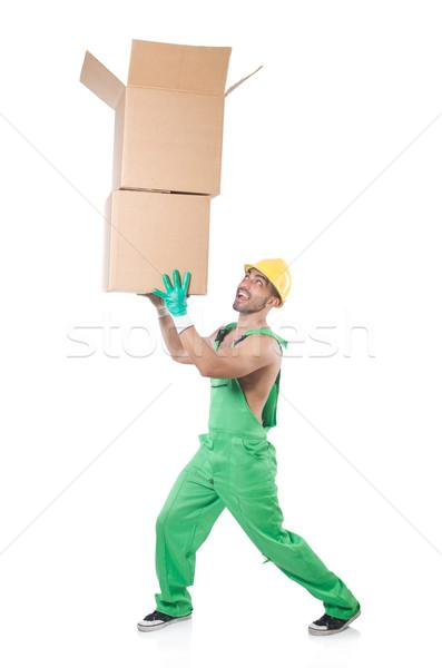Сток-фото: человека · зеленый · коробки · бизнеса · служба · фон