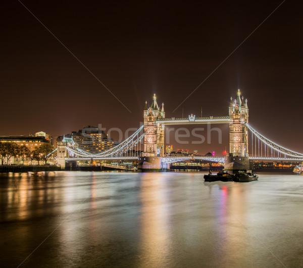 Famous Tower Bridge in London at night Stock photo © Elnur